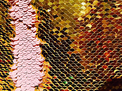 $26.22 • Buy GOLD PINK Reversible 5mm Sequin Fabric Flip Two Tone Stretch Material 130cm Wide