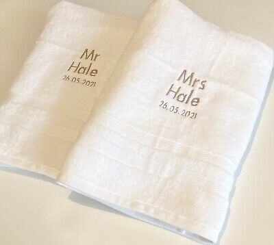 £24.99 • Buy Personalised Mr And Mrs Gift - Personalised Wedding Towels