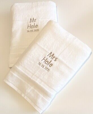 £18.99 • Buy Personalised Mr And Mrs Enagement Gift - Personalised Engagement Towels