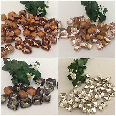 £3 • Buy Vintage Octagon 10x8mm Rhinestone Czech Foiled BARGAIN Pack Of 10 Colour Choice