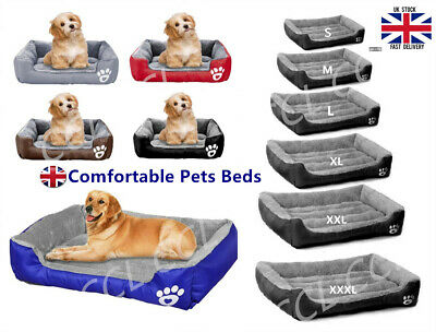 UK Pet Dog Cat Bed Puppy Cushion House Soft Warm Kennel Mat Blanket Washable Bed • 18.99£