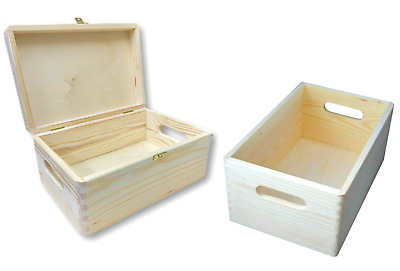 Wooden Box Storage Decoupage 30 X 20 Cm  PLAIN WOOD With/Without Lid • 13.99£