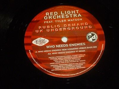 RED LIGHT ORCHESTRA Feat TYLER WATSON - Who Needs Ememies - 2-track 12  DJ Promo • 14.99£