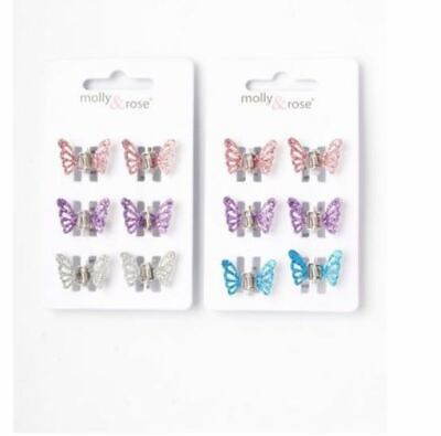 £2.99 • Buy Ladies Girls 6 Pack Glitter Butterfly Mini Hair Clips Clamps Brand New