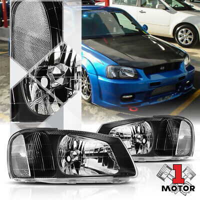 $74.86 • Buy Black Housing Headlight Head Lamp Clear Turn Signal Reflector For 00-02 Accent