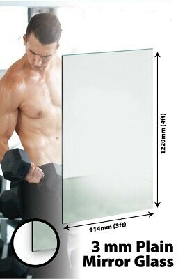 £70 • Buy Large Mirror Glass Home Gym Or Bathroom 3mm Thick Value 3Ft X 4Ft 91.5cm X 122cm