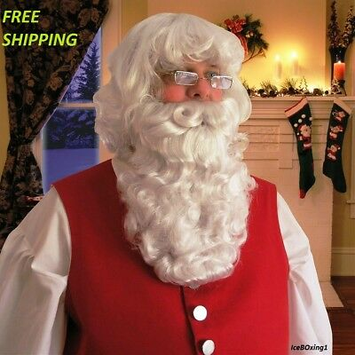 $74.75 • Buy Deluxe Santa Claus Beard And Wig Set Christmas Fancy Dress Costume Accessory New