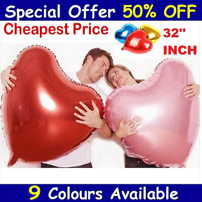 32  Inch BIG LOVE HEART FOIL BALLOON. WEDDING VALENTINES BIRTHDAY PARTY BALOONS  • 2.99£