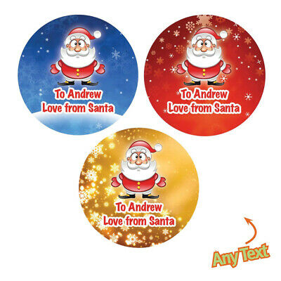 48 X Personalised Christmas Stickers Santa Father Christmas Present Labels -386 • 2.45£