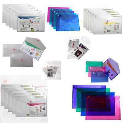 Ark Plastic Popper Stud Document Wallets Folders Clear Colours - Pack 5 • 5.99£