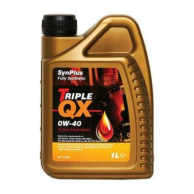 Triple QX SynPlus Fully Synthetic 0W40 Multigrade Car Motor Engine Oil 1L Litre • 18.99£