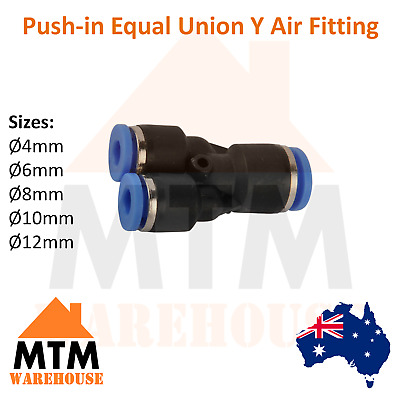 AU16 • Buy Push In Air Fitting Equal Union Y Pneumatic Systems Compressor / For PU PE Tube