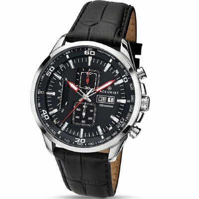 £64.97 • Buy Accurist Chronograph Black Dial Black Leather Strap Gents Watch 7004