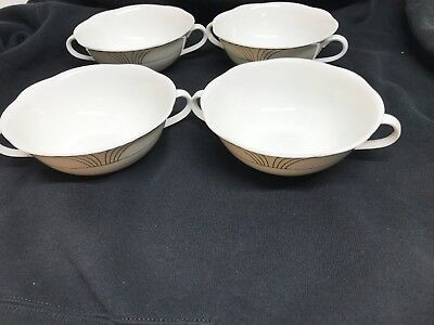 Villeroy & Boch Arco Gold Weiss White Bone 4 Cream Soup Bowls Set Of Four! Perf! • 96.05£