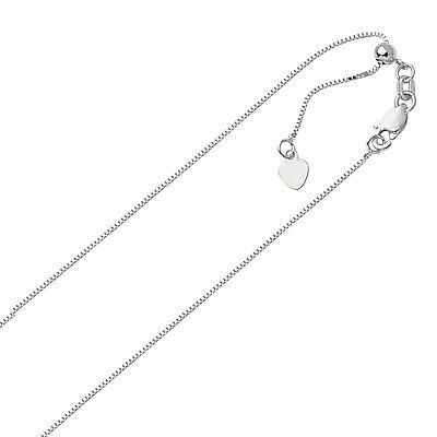 $77.96 • Buy .70mm Solid Adjustable Box Chain Necklace REAL 10K White Gold Up To 22   2gr