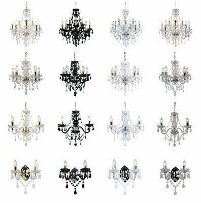 Marie Therese 3/5/9 Ceiling & Wall Light Chandeliers - Clear Black White & Gold • 49.99£