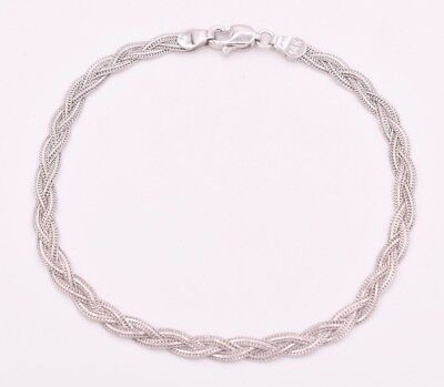 $146.01 • Buy Triple Woven Braided Fox Tail Wheat Bracelet Real Solid 14K White Gold 7