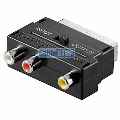 SCART To RED WHITE YELLOW TV ADAPTER WITH RCA PHONO DIRECTION SWITCH • 2.57£