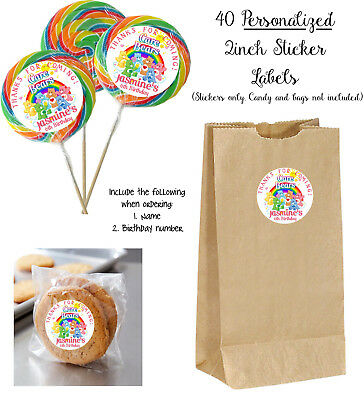 £7.23 • Buy 40 CARE BEARS STICKER Labels, For Lollipops, Goody Bag, Birthday Party Favors
