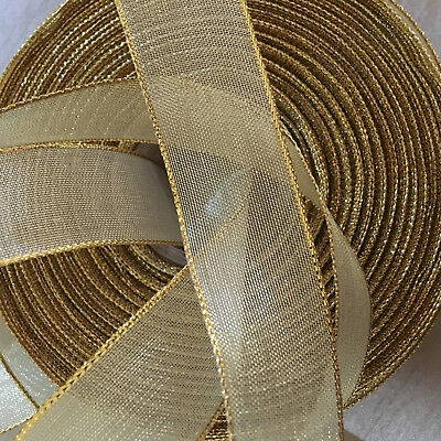 Gorgeous 25mm Wired Edge GOLD Mesh Lame Glitter Ribbon - Perfect For Christmas • 1.49£