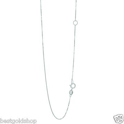 $72 • Buy Solid Box Chain Necklace Real 14K White Gold With Adjustable Jump Ring 18  ~ 20