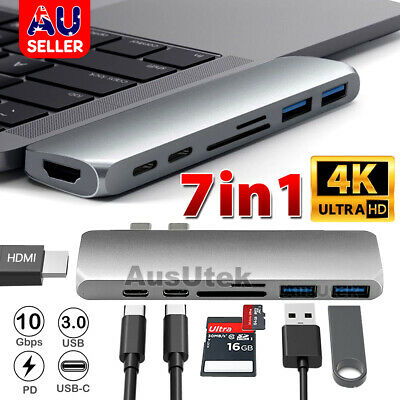 AU33.45 • Buy 7-in-1 Aluminum USB Type-C Port Pro Hub HDMI 4K HD SD/TF Adapter NEW MacBook Pro