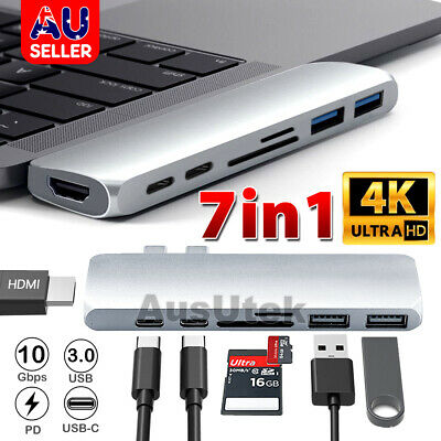 AU33.85 • Buy 7-in-1 Aluminum USB Type-C Port Pro Hub HDMI 4K HD SD/TF Adapter NEW MacBook Pro