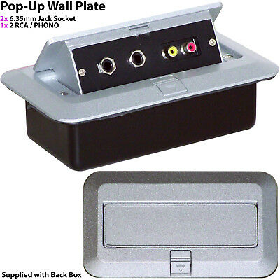 PRO 2 Gang Pop-Up Wall/Floor Plate & Back Box – 2x 6.35mm & 2x RCA/PHONO Outlet • 46.99£