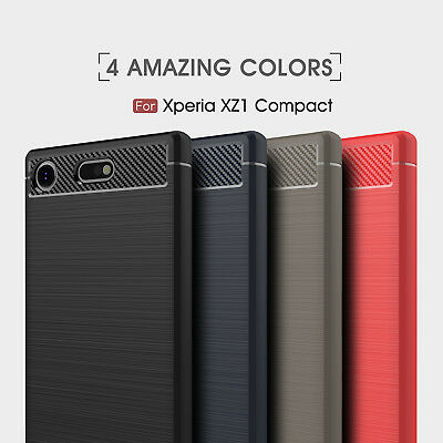 AU9.82 • Buy For Sony Xperia XZ1 Compact Shockproof Armor Carbon Fiber Hybrid Brush Case