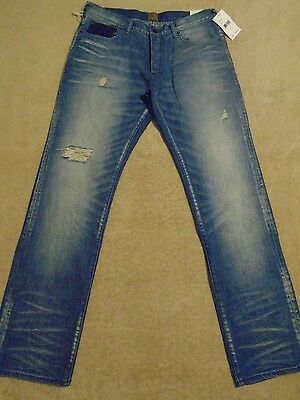PRPS BARRACUDA Ripped Creased Straight Legs Men Jeans 36 / 35 / 34 Orig. $275 • 143.11£