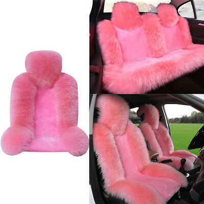 $ CDN197.86 • Buy 2Front Seat+1Rear Seat Pink Genuine Australian Sheepskin Fur Seat Covers Winter