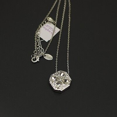 $ CDN12.24 • Buy NWT Lia Sophia Jewelry Polished Silver Plated Cut Crystal Pendant Necklace Chain