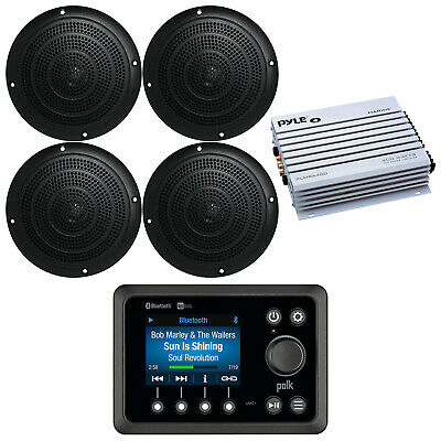 $205.49 • Buy Silver Kenwood Marine Boat Yacht Stereo Receiver 4 Speakers And 400W Amp & Cover
