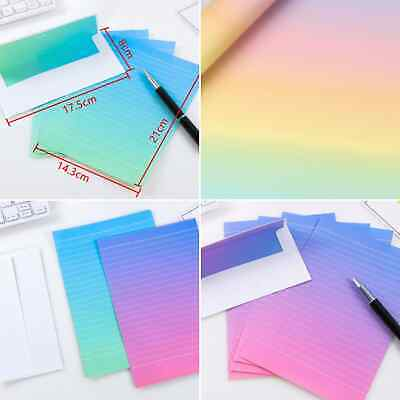 £2.76 • Buy Paper And Envelope Sets Childrens Letter Writing Set Girls Rainbow Ombre Boys UK