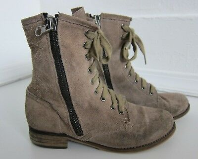 $22.49 • Buy Mtng Originals Beige Suede Leather Zip Up Combat Ankle Boot Women's 38/7.5-8