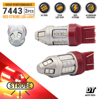 $13.94 • Buy Syneticusa 7443 7440 Red LED Strobe Flash Brake Stop Tail Light Parking Bulbs