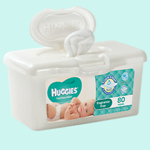 AU6.95 • Buy New 80 Pieces Huggies Hypoallergenic Baby Wipes Tub Gentle & Fragrance Free