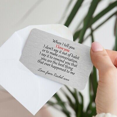 Personalised Sentimental When I Tell You Love Metal Wallet Card Gift Present • 3.99£