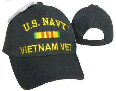 727c4cd0fa9 U.S. Navy Vietnam Vet Veteran Black Ribbon Embroidered Cap Hat CAP611B  (TOPW) • 7.88