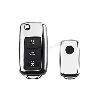 $12.99 • Buy For VW GTi Jetta Golf Silver Glossy Chrome TPU Smart Key Cover Case FOB Shell