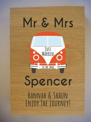 £24.99 • Buy Personalised Oak VW Campervan Wedding Gift Sign - Volkswagen Split Screen Camper