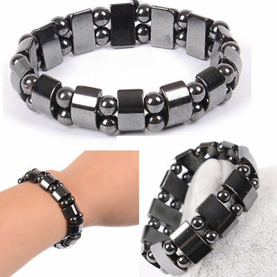$0.99 • Buy Black Magnetic Bracelet Beads Hematite Stone Therapy Health Care Jewelry