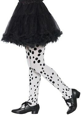 £4.95 • Buy Girls Black And White Dalmatian Spotty Fancy Dress Book Day Costume Tights 6-12