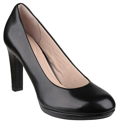 Rockport Seven To 7 Ally Plain Pump Ladies Black Leather Womans Court Shoe • 81.45£