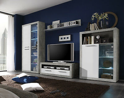 Greystone Lounge Furniture White Gloss & Grey Display Unit Sideboards TV Stands • 159£