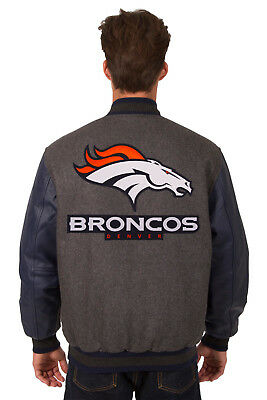 56c49b86248 Nfl Denver Broncos Jh Design Wool Poly Twill Reversible Leather Jacket 203  Rev7 • 249.98