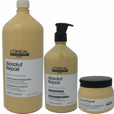 L'OREAL Absolut Repair Gold + Quinoa Protein Shampoo 1500ml Conditioner, Masque • 53.16£