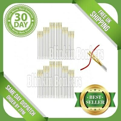 48 Easy Simple Self Thread Threading Threader Hand Sewing Needles Assorted Sizes • 2.89£