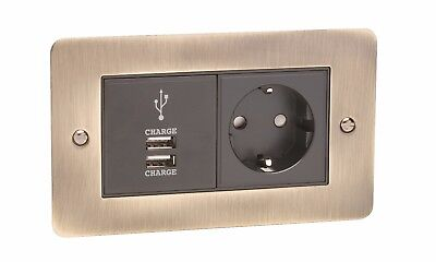 Schuko European Power Socket + 2 X USB Charge Flat Plate Antique Brass Plate • 22.75£