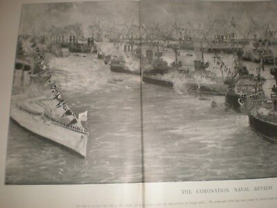 Coronation Navy Review The Fleet At Spithead Portsmouth 1902 Fold-out Print • 19.99£